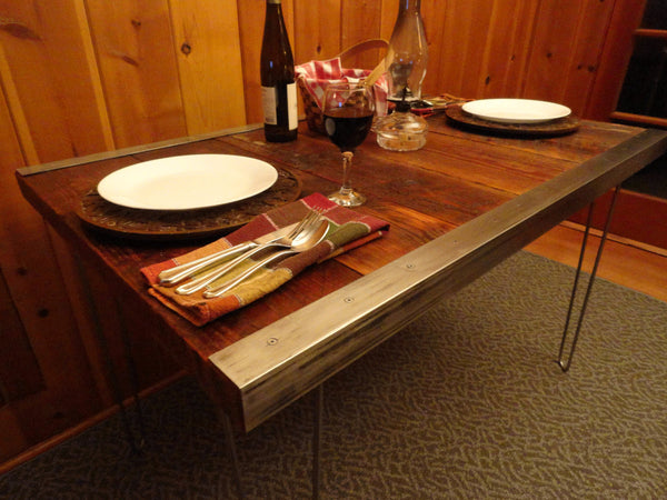 23 x 33 x 36 Industrial Dining Table with raw steel trim and hairpin legs