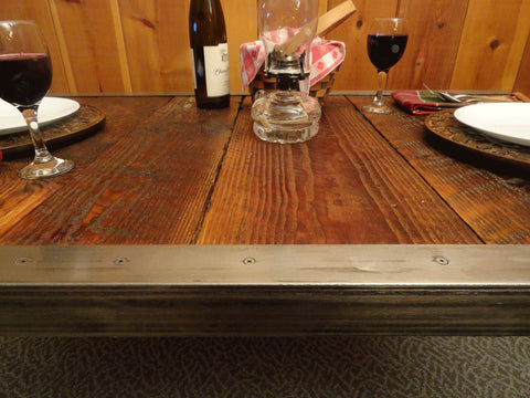 Industrial Dining Table with raw steel trim and hairpin legs 24 x 48