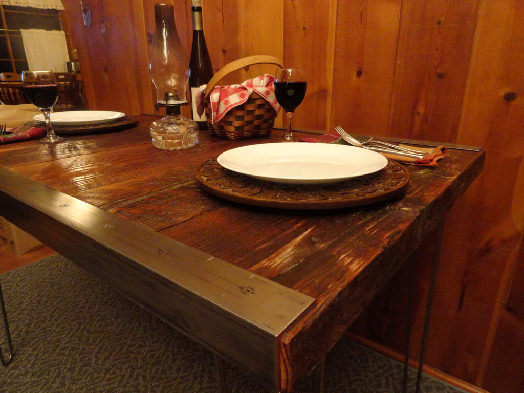 Industrial Dining Table with raw steel trim and hairpin legs 30 x
