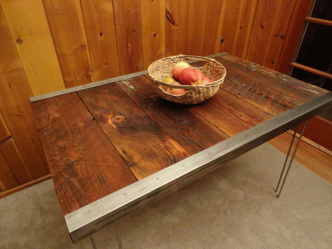 6 ft Industrial Dining Table with raw steel trim and hairpin legs