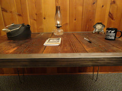 24 x 40 Industrial desk with raw steel trim and hairpin legs