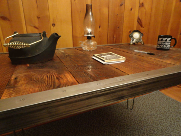 20 x 40 Industrial desk with raw steel trim and hairpin legs