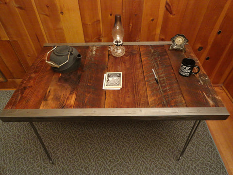 24 x 48 Industrial Table with raw steel trim and hairpin legs