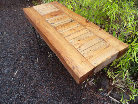 "Custom Old Growth Desk with Hairpin Legs - 4 inch thick top 12"" x 32"" x 32"""