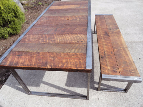 7 ft Industrial Dining Table w/ matching 6 ft industrial bench