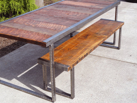 4 ft industrial bench with rectangular steel legs and raw steel trim