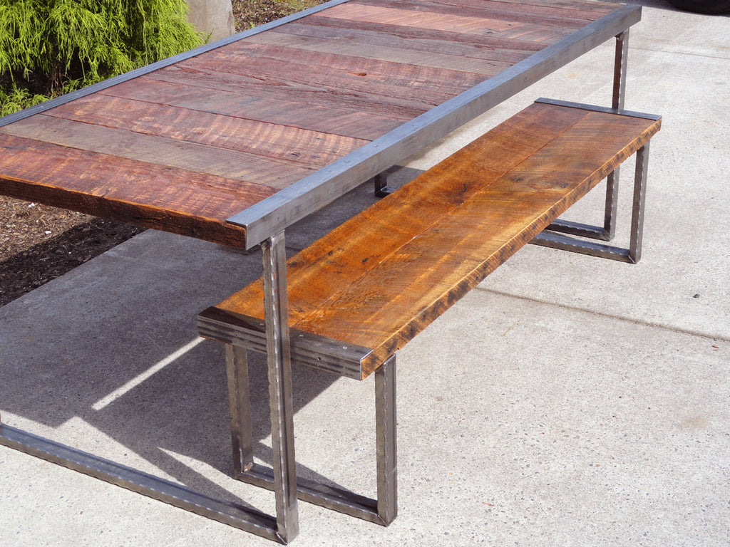 Small Industrial Dining Table W Matching Bench