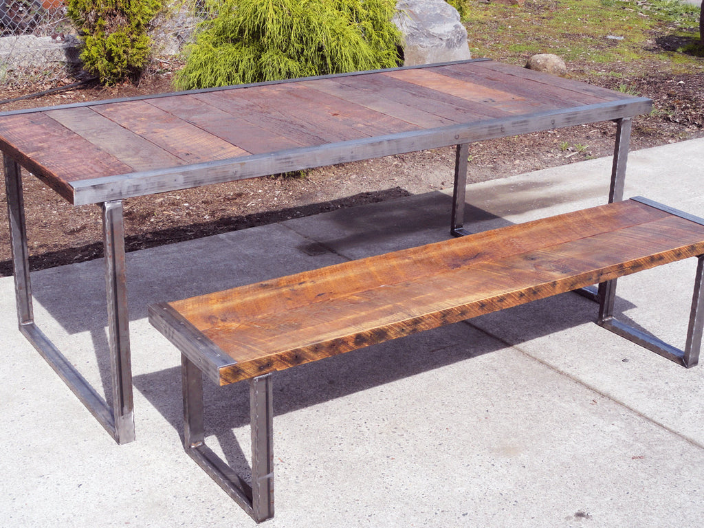 5 ft Industrial Dining Table w matching 4 ft industrial bench