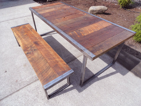 6 ft Industrial Dining Table w/ matching 5 ft industrial bench