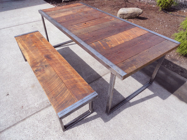 5 ft Industrial Dining Table w/ matching 4 ft industrial bench