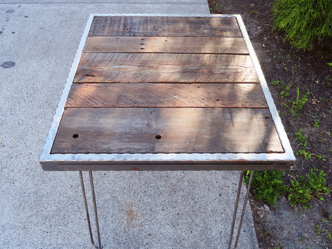 Hammered steel Dining Table with Hairpin Legs 30x48