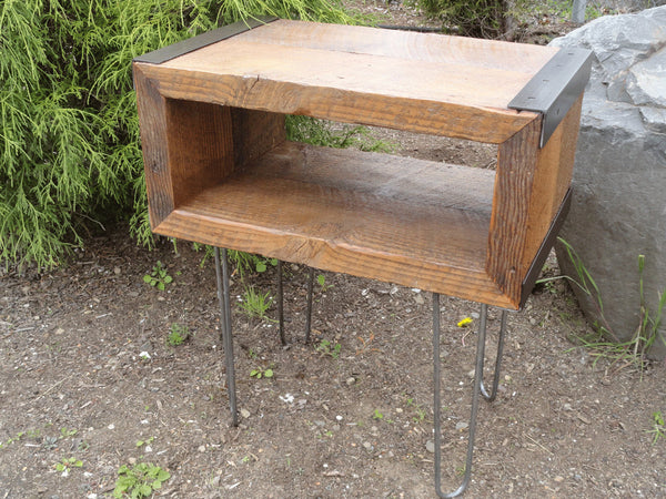Industrial Side Table from salvaged barnwood with hairpin legs
