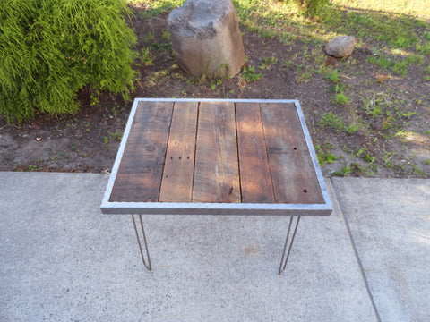"Hammered steel 18"" height Coffee Table with Hairpin Legs 30x30"
