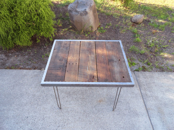 Hammered steel Dining Table with Hairpin Legs 33x23