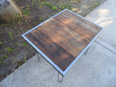 Hammered steel Dining Table with Hairpin Legs 36x36