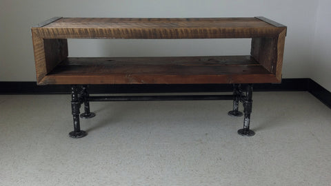 5 ft Industrial tv stand with distressed pipe legs