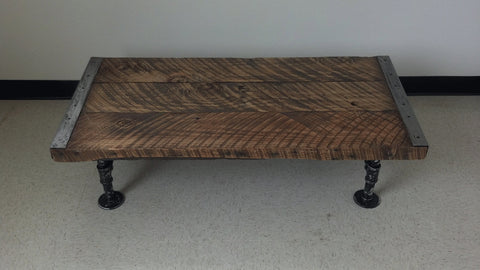 "20"" x 40"" Industrial Coffee Table with distressed pipe legs"