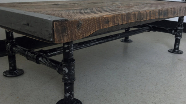 "24"" x 48"" Industrial Coffee Table with distressed pipe legs"