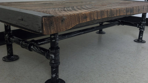 "30"" x 48"" Industrial Coffee Table with distressed pipe legs"