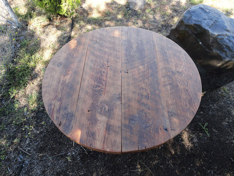 "Antique Barnwood - 17"" Height Round Coffee Table, 30 inches"