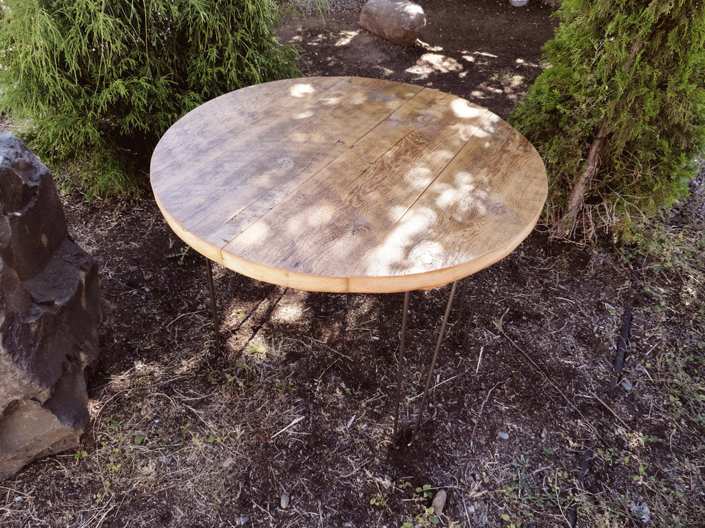 Antique Barnwood  Round Dining Table, 48 Inches, 56 Person