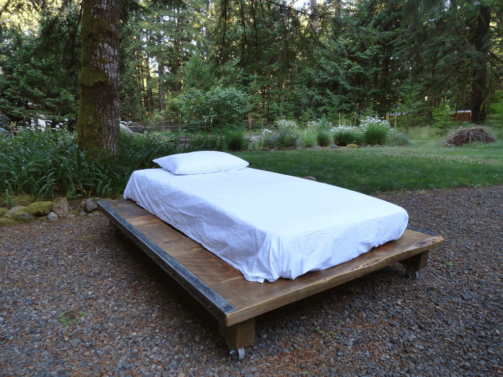 Rustic wood platform bed - Rustic Wood And Steel Platform Bed Queen Size 76 Inches Wide