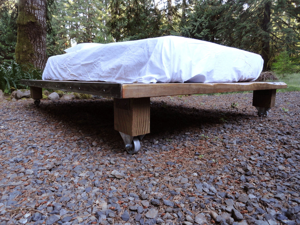 Rustic Wood and Steel Platform Bed, Twin size | Mt Hood Wood Works