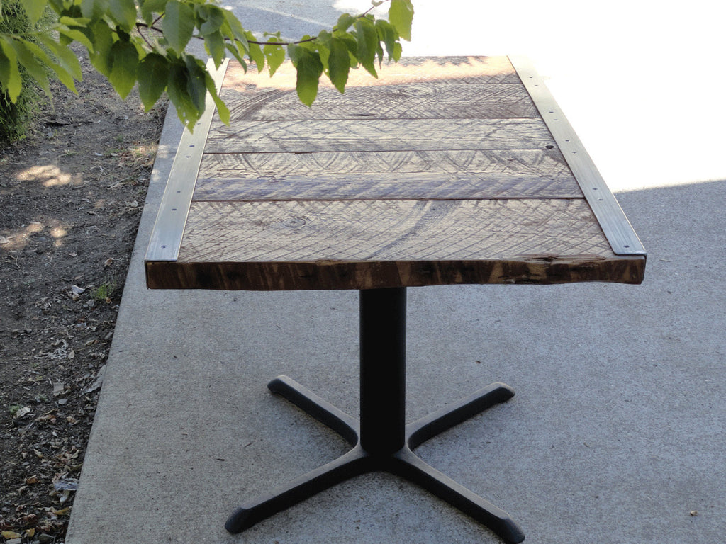 raw steel furniture. 23 X 33 Restaurant Dining Table, 2 Person, Small Raw Steel Pedestal Furniture T