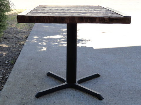 30x48 Raw Steel Pedestal Dining Table, 4 person