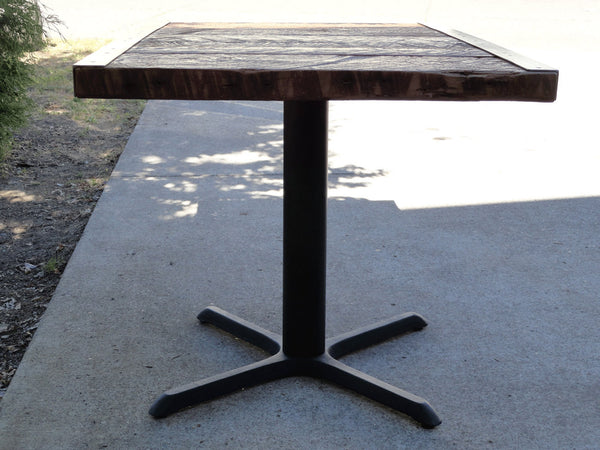 23 X 33 Restaurant Dining Table, 2 person, Small Raw Steel Pedestal