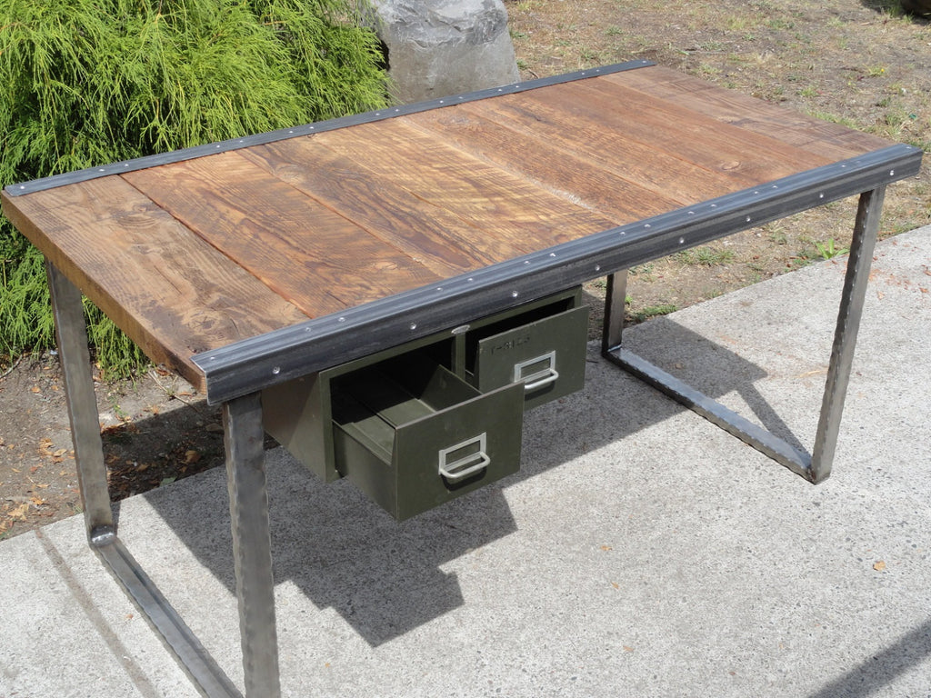 industrial office desk commercial ft industrial office desk with raw steel rectangular legs mt