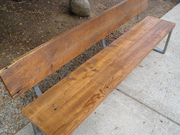 6 ft Bench with back and rectangular legs made from antique barnwood and steel