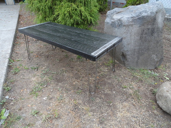 Black Stained Industrial Coffee Table from old barnwood with hairpin legs