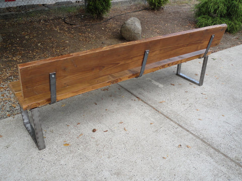 4 ft Bench with back and rectangular legs made from antique barnwood and steel
