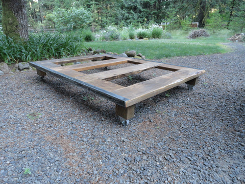 Rustic Wood and Steel Platform Bed, Full / Double size 70 inches wide