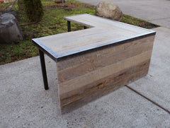 "Custom67""x 77"" Espresso Stain L Shaped Industrial desk With side panel"