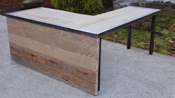 L Shaped Industrial desk with front panel and steel legs