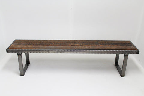 3 ft Hammered steel Bench