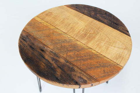 Barnwood Round Side Table with hairpin legs