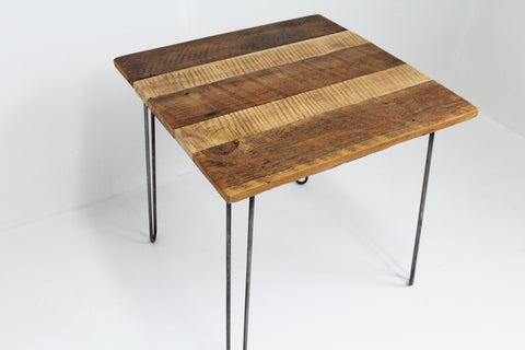 Barnwood Side Table with steel hairpin legs