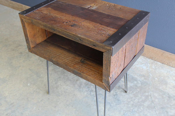 2 ft Industrial media console tv stand from salvaged barnwood with hairpin legs