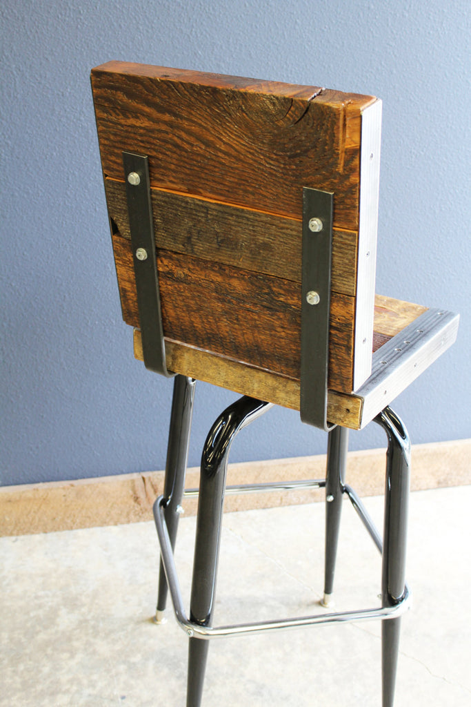 Industrial Stool With Back Made With Old Reclaimed Barn