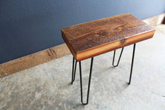Antique Reclaimed Barnwood Stool on Hairpin Legs