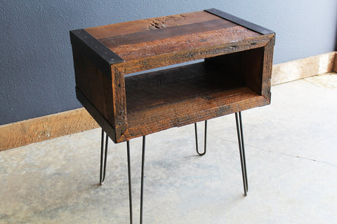 3 ft Industrial media console tv stand from salvaged barnwood with hairpin legs