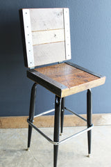Industrial stool with back made with old reclaimed barn wood