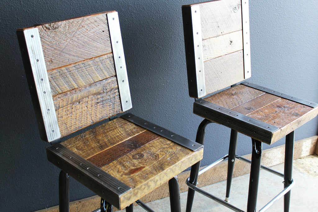 2 Restaurant Bar Stools With Backs Made Old Reclaimed Barn Wood