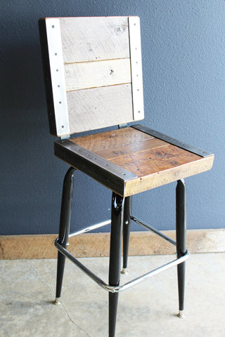 Custom Order, Restaurant Bar Stool with back made with old reclaimed barn wood (see details)
