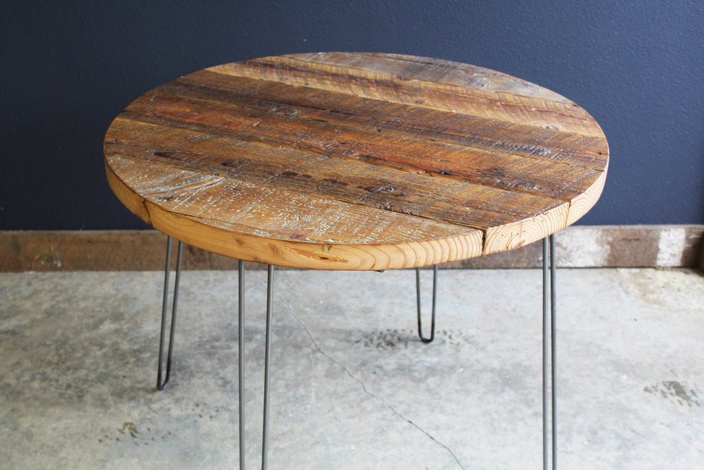 36 round antique barnwood coffee table with hairpin legs for Vintage hairpin table legs