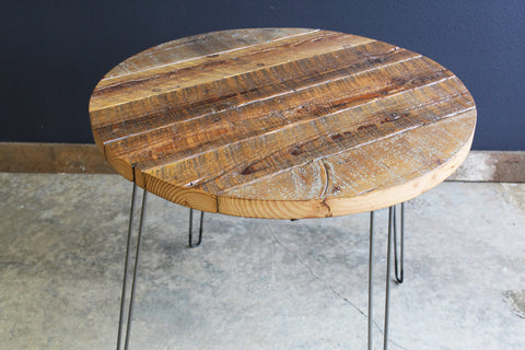 "42"" Round Antique Barnwood Coffee Table with Hairpin Legs"