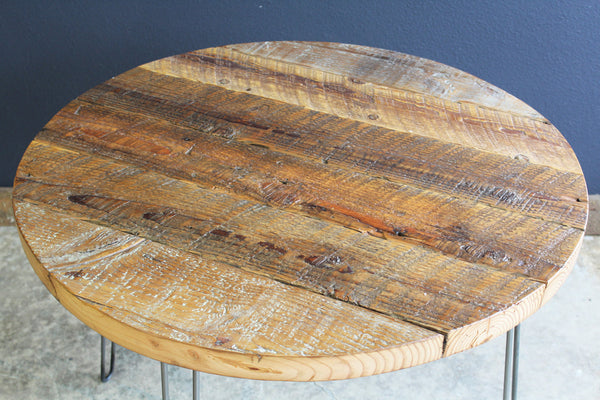 "48"" Round Antique Barnwood Coffee Table with Hairpin Legs"